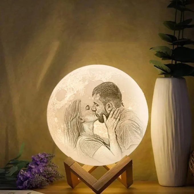 Custom Moon Lamp with Photo 3D Printed Moon Lamp Night Light