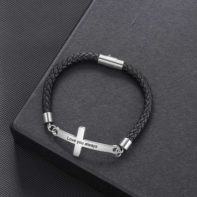 Silver Sideways Cross Leather Bracelet Mens Leather Bracelet with Names Godfather Gift