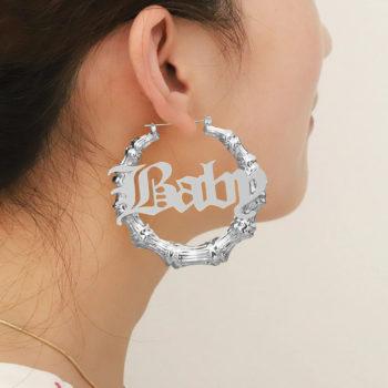 Custom Circle Bamboo Earrings with Name Personalized Door Knocker Earrings Retro Jewelry
