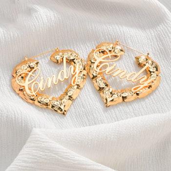 Custom Heart Bamboo Earrings with Name Personalized Door Knocker Earrings Retro Jewelry