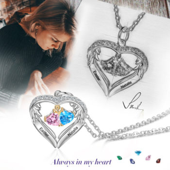 Heart With Wings Pendant Custom Two Names Necklace With Birthstones Personalized Jewelry