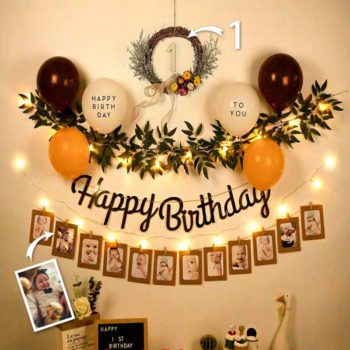 Custom Photos Happy Birthday Banner Sign Kids Birthday Party LED Lights Room Wall Hanging Party Decor