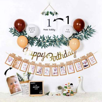 Birthday Party Background Wall Decoration Custom Numbers & Photos Decor Hangs Sign
