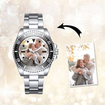 Custom Photo Wristwatch Personalized Men's Waterproof Brushed Strap Wristwatch