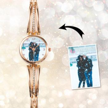 Custom Women's Gold Plated Zircons Wristwatch Personalized Fashion Watch