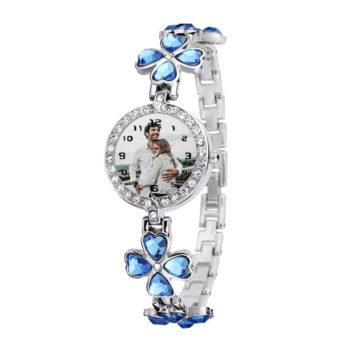 Custom Women's Lucky Clover Wristwatch Personalized Crystal Lucky Grass Watch