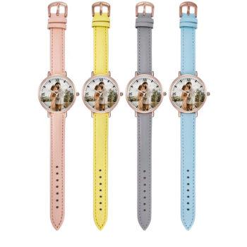 Custom Leather Strap Wristwatch Personalized Photo Printing Wristwatch