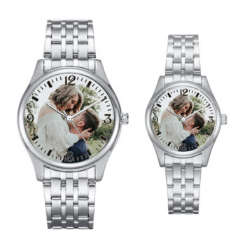 Custom Photo Wristwatch Arabic Numerals Scale Couple Watch Personalized Quartz Watch for Men & Women