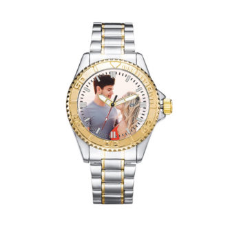 Custom Men's Metal Strap Photo Wristwatch Personalized Waterproof Watch