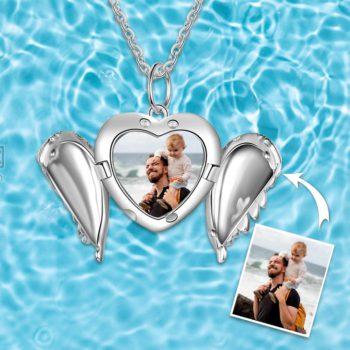 Angel Wing Locket Necklace Engravable Photo Locket