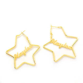 Personalized Star Golden Letter Customized Valentine's Day Gifts Name Earrings