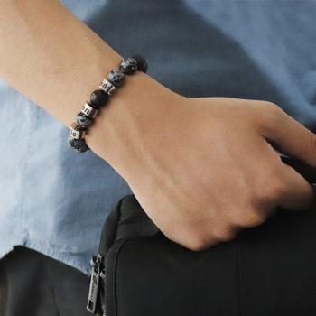 Custom Engraved Bracelet Snowflake Stone Pattern Beads Name Bracelet
