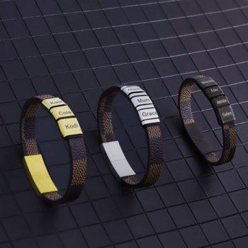 Personalized Engraved Beads Name Bracelet Tredny Serpentine Leather Bracelt Gift for Him