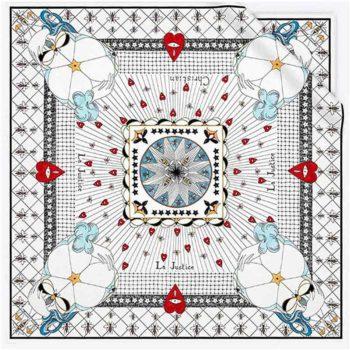 Twill Silk Tarot Printed Small Square Scarf Neck Decoration