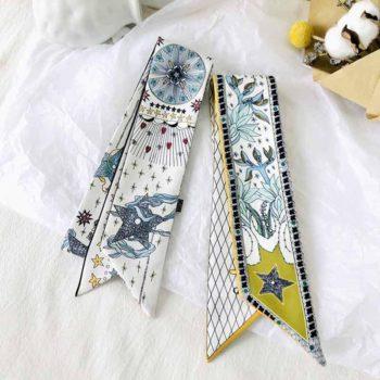 Bag Handle Silk Scarf Tarot Printed Long Skinny Scarf