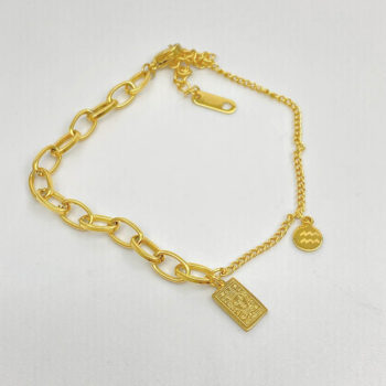 Gold Zodiac Sign Bracelet Square Card Tarot Charm Bracelet
