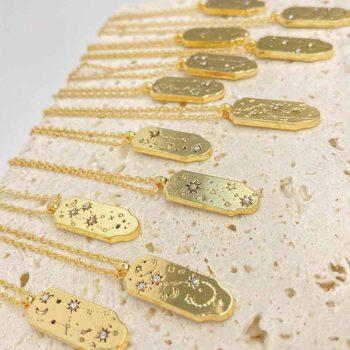 Vintage Zodiac Sign Pendant Birth Month Carved Necklace