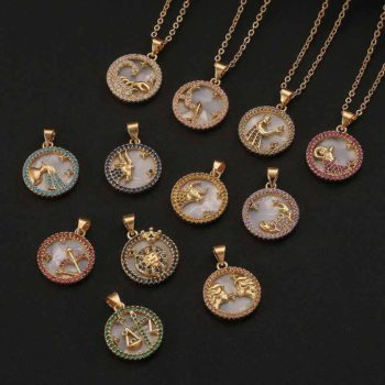 Constellation Pendant with Zircon For Mom Zodiac Necklace