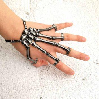 Halloween Bracelets Metal Skull with Finger Bracelets