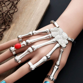 Ruby Skeleton Finger Bracelet with Bones Gothic Hand Skull