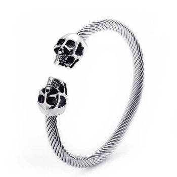 Luxury Skull Jewelry Gothic Double Skull Wire Bracelet