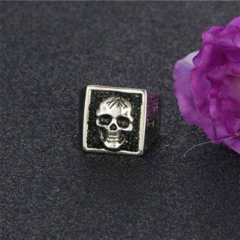 Ghost Ring with Black Diamond Gothic Skull Face Men's Ring