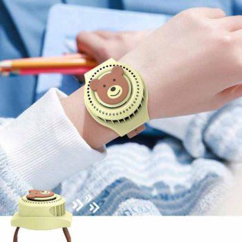 Watch Fan USB Charging Portable Leafless Cartoon Wrist Fan