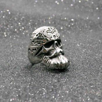 Skull Rings Polished Moustache Titanium Ring For Biker Men