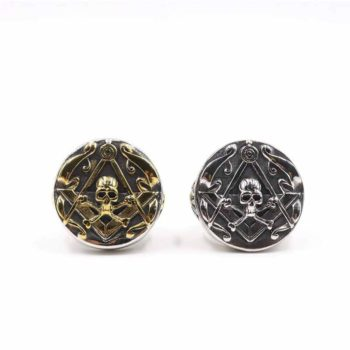 Masonic Ring Skull Cross Bones and Compass Gold Ring