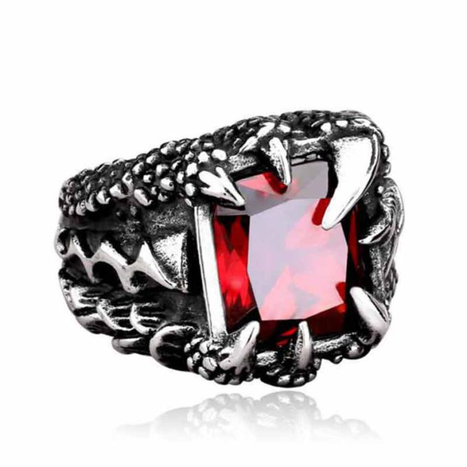 Dragon Claw Ring with Ruby Gothic Rings Gemstone Ring