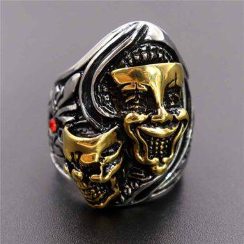 Vintage Freemason Ring Biker Clown Mask Skull Ring