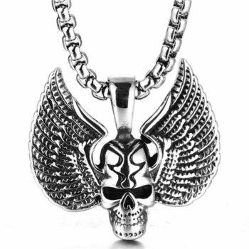 Skull Wings Pendant Rock Feather Ghost Head Choker