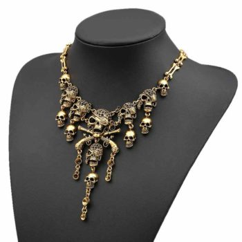 Pirate Necklace Exaggerated Multi-layer Skull Necklace