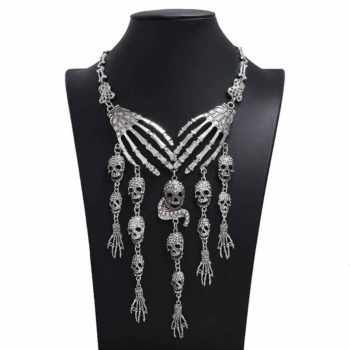 Skeleton Hand Necklace Punk Ghost Long Chain Alloy Choker
