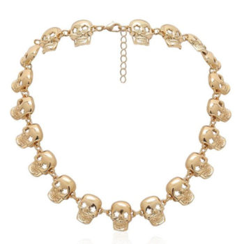 Cuban Link Chain Skull Head Necklace Halloween Pendant