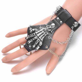 Skeleton Hand Bangle Hand Claw Bones Leather Bracelet