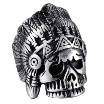 Chief Ring Indian Portrait Vintage Punk Style Skull Ring