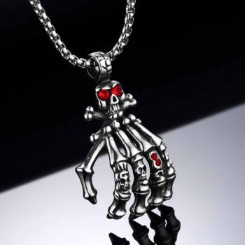 Skull Pendant Skeleton Ghost Hand Motorcycle Necklace