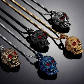 Skull Chain Tribal Necklace With Red Rhinestone Eyes