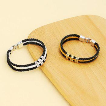 Braided Bracelet Custom Engraved Letters Beaded Bracelets