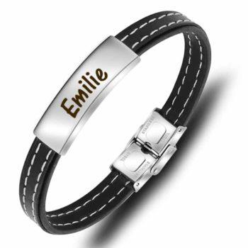 Leather Bracelet High Polished Stitch Men's Cuff Bracelet