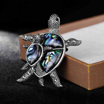 Turtle Brooch Pin With Shell Element Beach Medical Badge