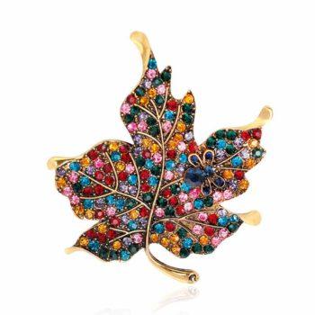 Leaf Brooch With Rainbow Rhinestone Maple Plant Corsage