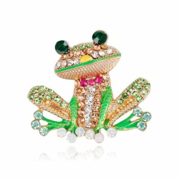 Frog Brooch Cute Oil Drop Enamel Brooch With Cubic Zirconia