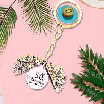Sunflower Keychain Custom Birthday Number Metal Keychain
