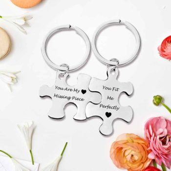 Couple Keychain Puzzle Custom Letter Charm Key Rings