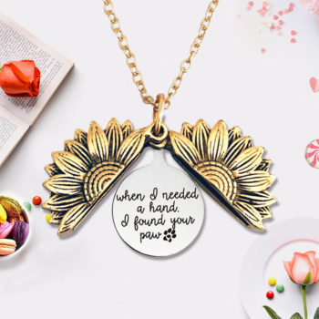 Sunflower Necklace Openable Engraved Pendant Jewelry