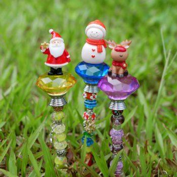 Beaded Ornaments Handmade Santa & Christmas Tree Stake