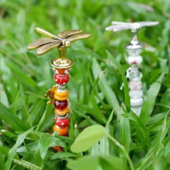 Garden Stakes Metal Dragonfly Topper Sparkle Fairy Wand