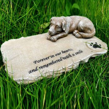 Custom Memorial Stone With A Sleeping Dog Pet Grave Markers